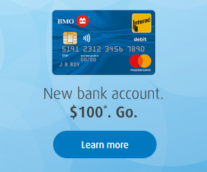 New bank account. $100*. Go.