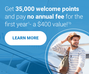 Get 35,000 welcome points. Pay no annual fee in the first year.<sup>1</sup>