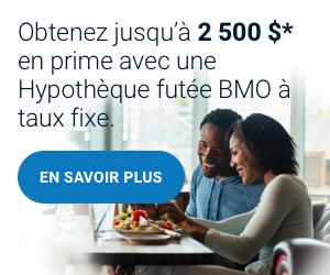 Obtenez jusqu'à 2 500 $* en prime avec une Hypothèque futée BMO à taux fixe.