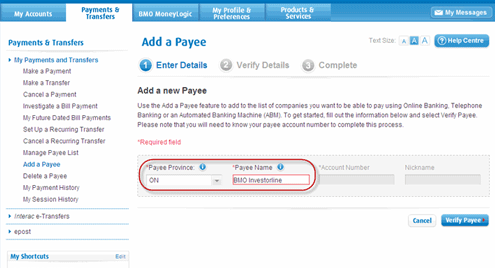 Select Add a Payee