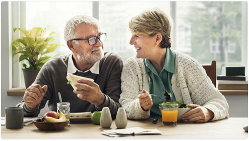 Elderly couple smiling about their income annuities from BMO Insurance