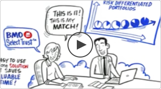 In this video still, a woman learns about BMO SelectTrust portfolios from an investment professional. Click to play.