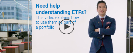 BMO Portfolio Manager Alfred Lee stands beside text reading Need help understanding ETFs? Click to play video.