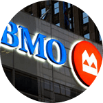 Outdoor picture of BMO sign at a branch.
