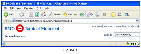 Photo of a screen showing what a legitimate BMO URL should look like, emphasizing HTTPS, where S means secure.