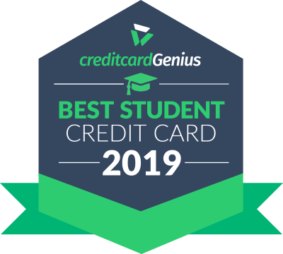 Credit Card Genius seal for the best student cash back credit card in Canada in 2019 for the BMO Student CashBack Mastercard