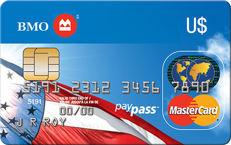 The front of the BMO USD MasterCard credit card: BMO's best USD credit card in Canada. Apply now to use online or while traveling in the USA.
