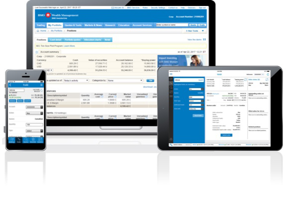 BMO InvestorLine online investing platform as it appears on a smartphone, desktop computer and tablet
